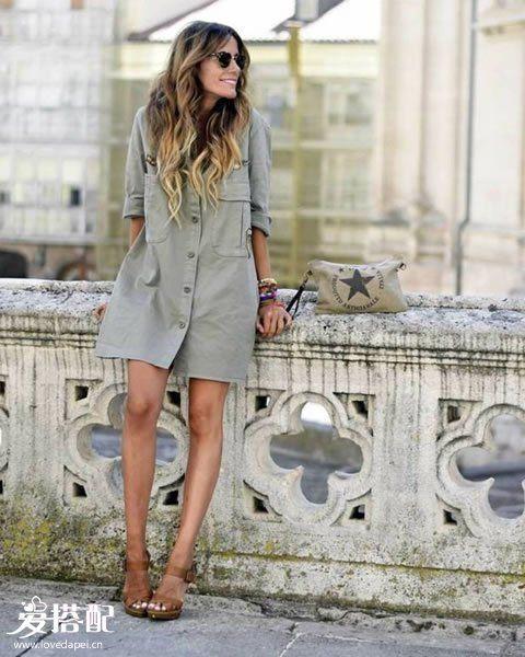 衬衫裙+平底鞋or凉鞋
