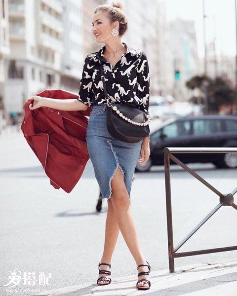 牛仔裙+纽扣衬衫